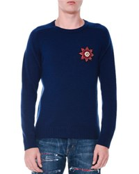 Alexander Mcqueen Cashmere Beaded Patch Long Sleeve Sweater Blue