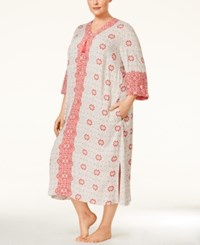 Charter Club Plus Size Printed Long Caftan Only At Macy's Peach Tile