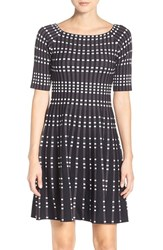 Eliza J Women's Geometric Knit Fit And Flare Dress