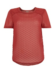 Vero Moda Short Sleeved Dot Detail Top Rosewood