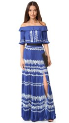 Self Portrait Off Shoulder Maxi Dress Cobalt Blue Cream