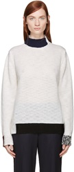 Raf Simons Ivory Coloblocked Knit Sweater