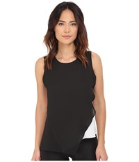 Vince Camuto Sleeveless Color Block Blouse W Asymetrical Overlay Rich Black Women's Blouse