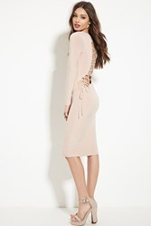 Forever 21 Curved Lace Up Midi Dress Taupe