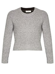 Balenciaga Round Neck Cropped Sweater Silver