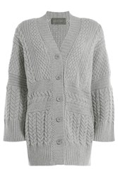 Alberta Ferretti Wool Cashmere Textured Knit Cardigan Grey