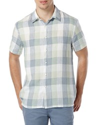Perry Ellis Short Sleeved Button Front Plaid Shirt Smoke Green