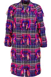 Milly Rafiia Trimmed Tweed Coat Pink