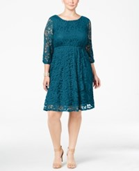 Ing Trendy Plus Size Lace A Line Dress Dark Teal