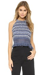 Timo Weiland Sophie Fringed Halter Top Blue Ivory