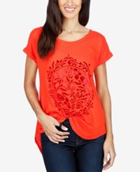 Lucky Brand Split Back Graphic T Shirt Neon Red