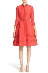 Carolina Herrera Women's Embellished Belted Silk Faille A Line Shirtdress