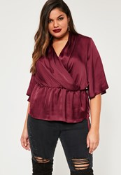 Missguided Plus Size Burgundy Satin Wrap Short Sleeve Blouse