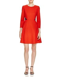 Finity Color Block Fit And Flare Dress Red With Black
