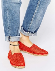 London Rebel Canary Coral Crochet Espadrilles