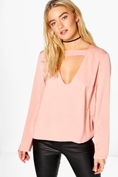 Boohoo Open Neck Detail Blouse Rose