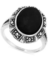 Genevieve And Grace Onyx 13X10mm And Marcasite Oval Ring In Sterling Silver