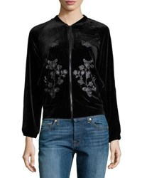 Hazel Embroidered Detail Velvet Bomber Jacket Black