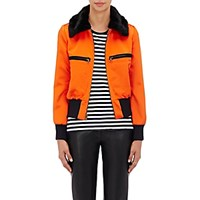 Harvey Faircloth Women's Faux Fur Trimmed Bomber Jacket Orange