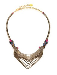 Erickson Beamon Velvet Underground Crystal Draped Chain Bib Necklace Gold Multi