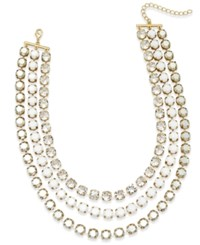 Abs By Allen Schwartz Gold Tone Crystal And Stone Layer Necklace