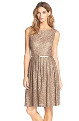 Ellen Tracy Pleated Lace Fit And Flare Dress Champagne