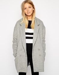 Brave Soul Tall Double Breasted Coat Grey