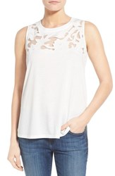 Women's Gibson Cutout Yoke Detail Sleeveless Knit Top White