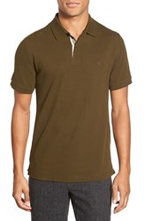 Men's Burberry Brit Modern Fit Pique Polo Olive Green