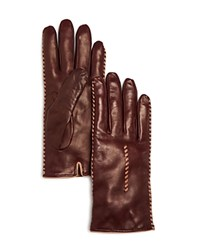 Bloomingdale's Whip Stitch Leather Gloves Bordeaux