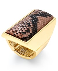 Thalia Sodi Gold Tone Pink Snakeskin Inspired Statement Stretch Ring Only At Macy's