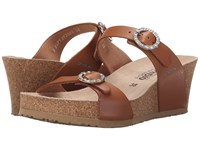 Mephisto Lidia Camel Waxy Women's Wedge Shoes Tan