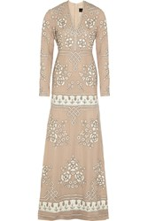 Needle And Thread Embellished Chiffon Gown Nude