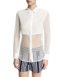 Rag And Bone Rag And Bone Luna Long Sleeve Mesh Top White Size Medium