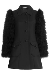 Red Valentino Wool Coat With Feather Sleeves Black