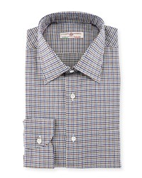 Luciano Barbera Small Check Woven Shirt Brown Gray Navy
