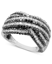 Macy's Black And White Diamond Stripe Ring In Sterling Silver 1 1 2 Ct. T.W.