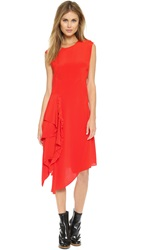 3.1 Phillip Lim Sleeveless Cascading Ruffle Dress Paprika