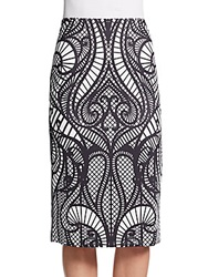 Saks Fifth Avenue Black Swirl Print Scuba Pencil Skirt Black White