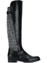Dolce And Gabbana Tweed Panel Boots Black