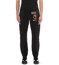 Moschino Cargo Panelled Cotton Jersey Jogging Bottoms Black White