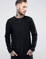 Only And Sons Knitted Jumper With Raw Edges Black