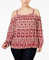 Inc International Concepts Plus Size Printed Cold Shoulder Peasant Top Only At Macy's Aztec Landscape