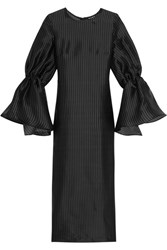 Paper London Dawn Pinstriped Silk Organza Dress Black