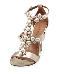Carrano Amber Jeweled Caged Sandal Gold