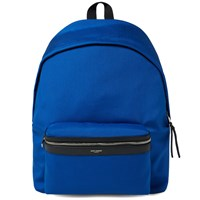 Saint Laurent Gabardine Canvas Backpack Blue