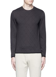 Armani Collezioni Diamond Jacquard Slim Fit Sweater Grey