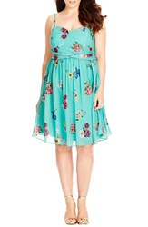 Plus Size Women's City Chic 'Fresh Floral' Chiffon Fit And Flare Dress