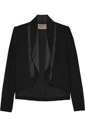 Halston Satin Trimmed Woven Wool Blend Blazer Black