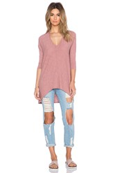 Bobi Cotton Slub Dolman 3 4 Sleeve Tunic Blush